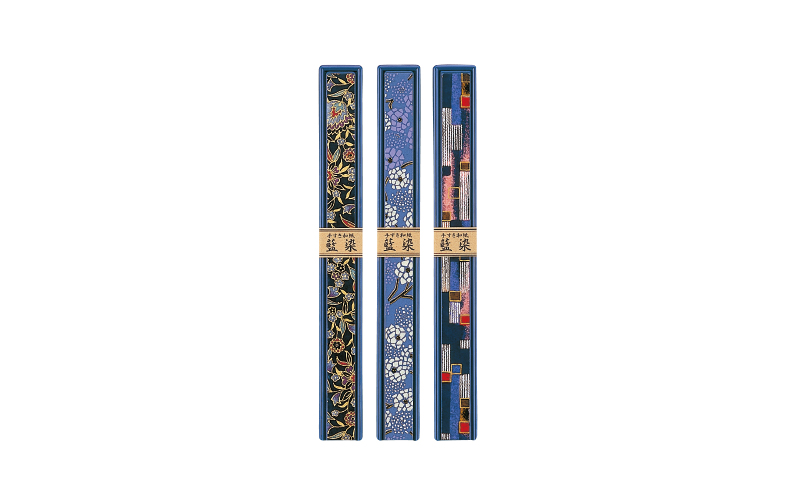蓋塗(手すき和紙)箸箱(中)藍染